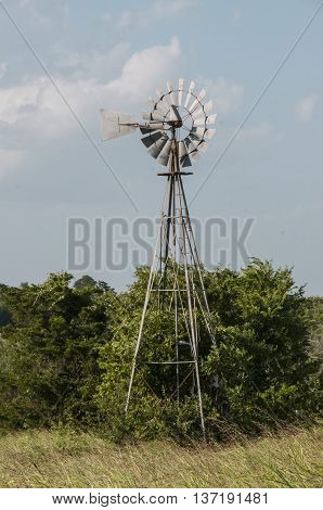 Windmill out on a cattle ranch in Texas.