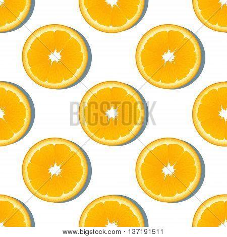 Orange slice fruit seamless pattern. Citrus color vector background