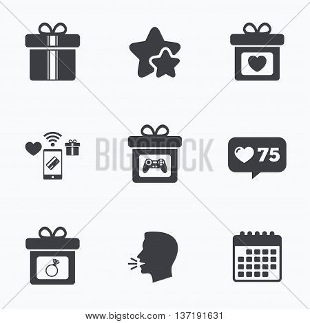 Gift box sign icons. Present with bow and ribbons symbols. Engagement ring sign. Video game joystick. Flat talking head, calendar icons. Stars, like counter icons. Vector
