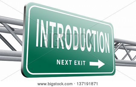 Introduction or about us road sign a biography or bio, 3D illustration isolated on white