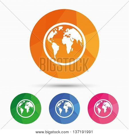Globe sign icon. World map geography symbol. Triangular low poly button with flat icon. Vector