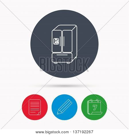 American fridge icon. Refrigerator with ice sign. Calendar, pencil or edit and document file signs. Vector