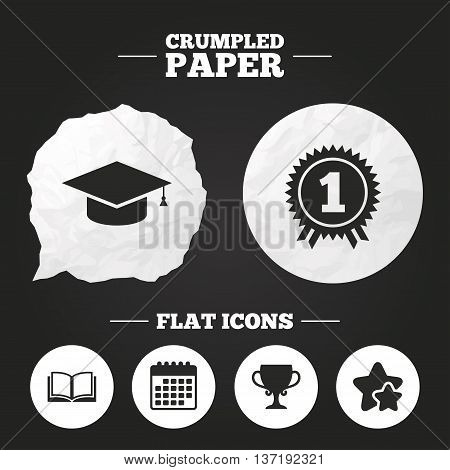 Crumpled paper speech bubble. Graduation icons. Graduation student cap sign. Education book symbol. First place award. Winners cup. Paper button. Vector