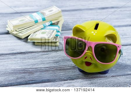 Lime piggy bank in sunglasses. Bundles of US dollars. Big money for luxury travel. Live in grand style.