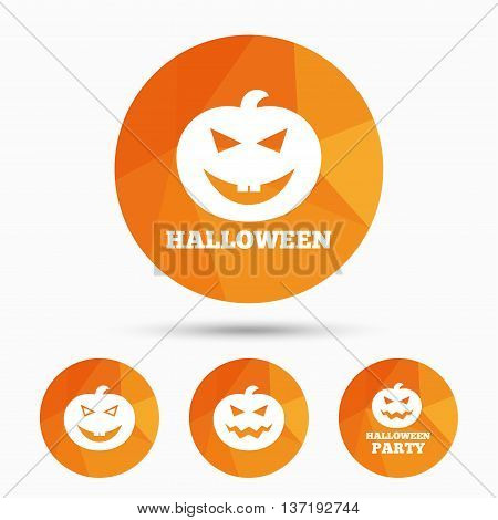 Halloween pumpkin icons. Halloween party sign symbol. All Hallows Day celebration. Triangular low poly buttons with shadow. Vector