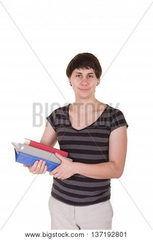 Portrait of a college student isolated on white
