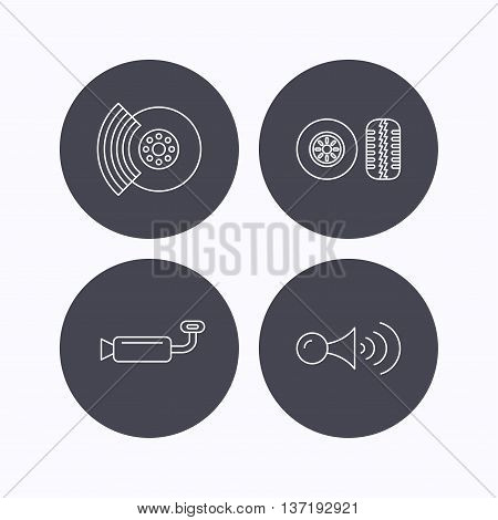 Tire tread, brakes and steering wheel icons. Muffler, klaxon signal linear signs. Flat icons in circle buttons on white background. Vector