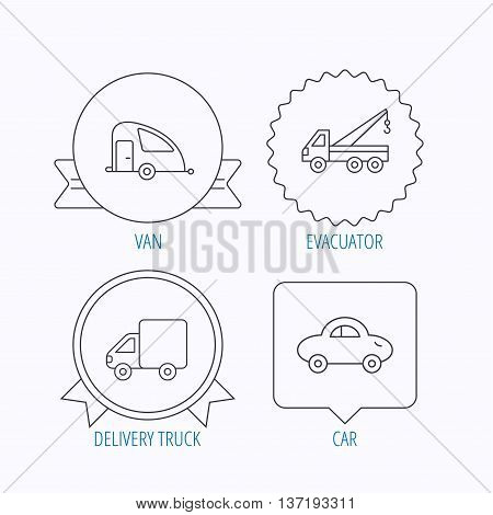 Car, delivery truck and evacuator icons. Travel van linear signs. Award medal, star label and speech bubble designs. Vector