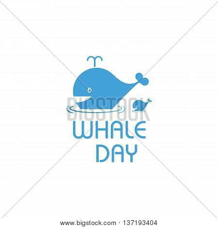 Isolated cartoon whale vector illustration. Ocean mammal on the blue background image. International whale day vector illustration. Extinct animal symbol. White and blue color