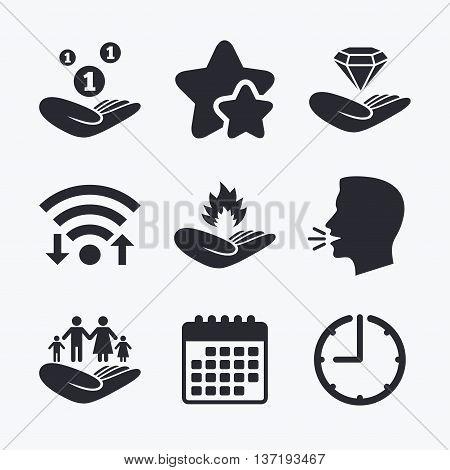 Helping hands icons. Financial money savings, family life insurance symbols. Diamond brilliant sign. Fire protection. Wifi internet, favorite stars, calendar and clock. Talking head. Vector