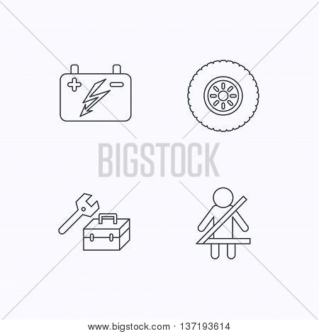 Accumulator, wheel and car service icons. Repair toolbox, fasten seat belt linear signs. Flat linear icons on white background. Vector