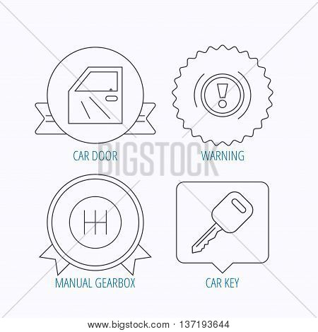 Car key, warning and manual gearbox icons. Car door, transmission linear signs. Award medal, star label and speech bubble designs. Vector
