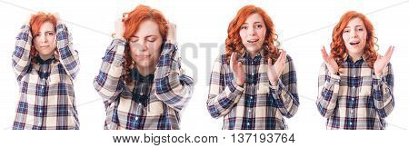 Woman with Head Ache Holding her Head. Isolated over White Background. Collage.