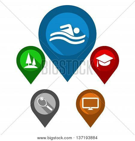 This is set vector map pointers / blue pin pool / green pin park / red pin university / gray pin sport / orange pin electronics