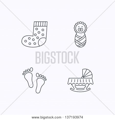 Footprint, cradle and newborn baby icons. Socks linear sign. Flat linear icons on white background. Vector