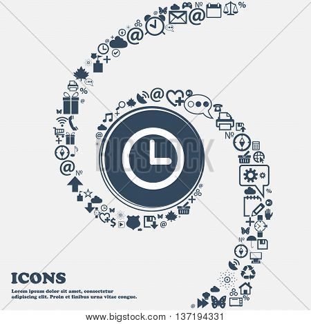 Clock Sign Icon. Mechanical Clock Symbol In The Center. Around The Many Beautiful Symbols Twisted In