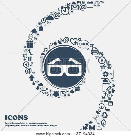 3D Glasses Icon In The Center. Around The Many Beautiful Symbols Twisted In A Spiral. You Can Use Ea