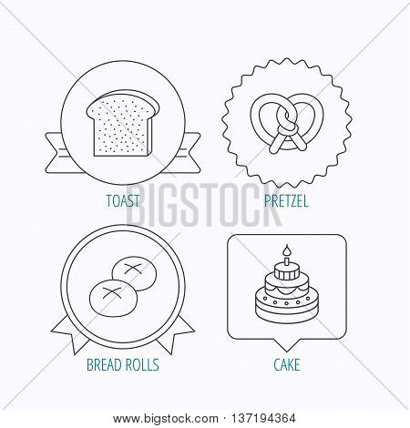 Cake, pretzel and bread rolls icons. Toast linear sign. Award medal, star label and speech bubble designs. Vector