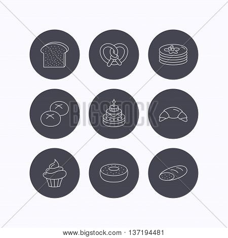 Croissant, pretzel and bread icons. Cupcake, cake and sweet donut linear signs. Pancakes, toast and bread rolls flat line icons. Flat icons in circle buttons on white background. Vector