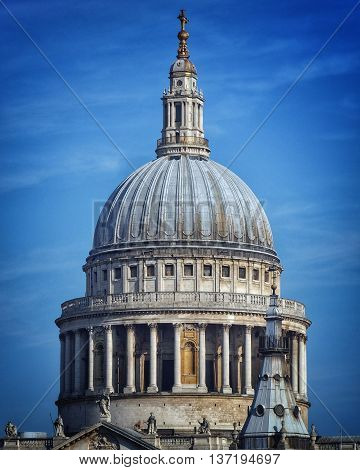 St Pauls cathedral in London with blue sky