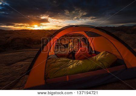 Cup Of Coffe At Sunrise Reflection Canyon Utah Lake Powell Camping