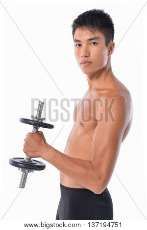 Side view muscular young man lifting weights