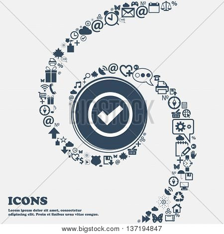 Check Mark Sign Icon . Confirm Approved Symbol In The Center. Around The Many Beautiful Symbols Twis