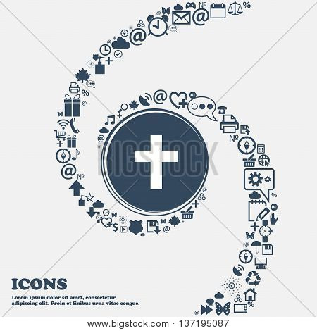 Religious Cross, Christian Icon In The Center. Around The Many Beautiful Symbols Twisted In A Spiral