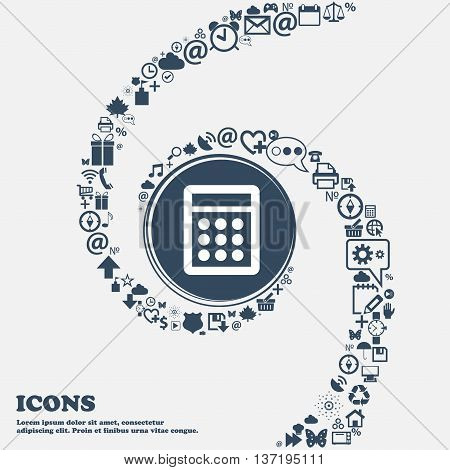 Calculator Sign Icon. Bookkeeping Symbol In The Center. Around The Many Beautiful Symbols Twisted In