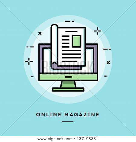 Online magazine flat design thin line banner usage for e-mail newsletters web banners headers blog posts print and more