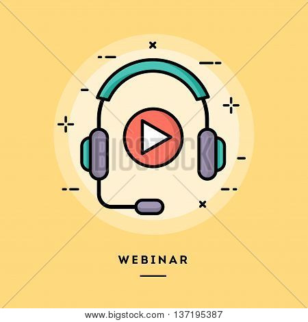 Webinar flat design thin line banner usage for e-mail newsletters web banners headers blog posts print and more