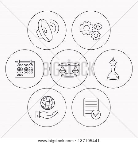 Strategy, sound and scales of justice icons. Save planet linear sign. Check file, calendar and cogwheel icons. Vector