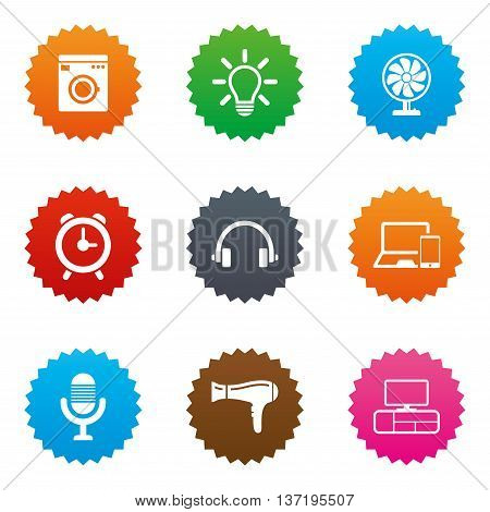 Home appliances, device icons. Ventilator sign. Hairdryer, washing machine and lamp symbols. Stars label button with flat icons. Vector