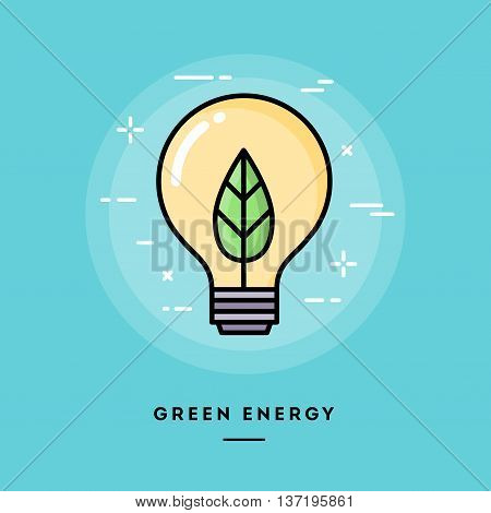 Green energy flat design thin line banner usage for e-mail newsletters web banners headers blog posts print and more