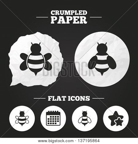 Crumpled paper speech bubble. Honey bees icons. Bumblebees symbols. Flying insects with sting signs. Paper button. Vector