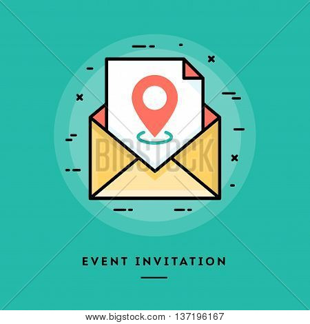 Event invitation flat design thin line banner usage for e-mail newsletters web banners headers blog posts print and more
