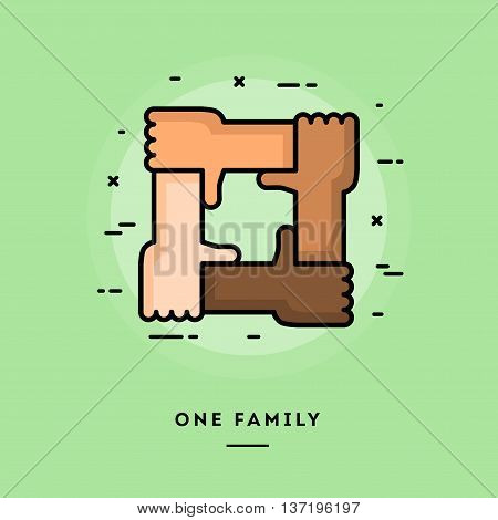 One family flat design thin line banner usage for e-mail newsletters web banners headers blog posts print and more
