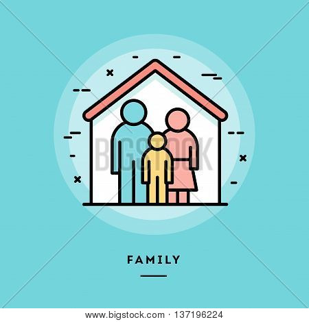 Family flat design thin line banner usage for e-mail newsletters web banners headers blog posts print and more