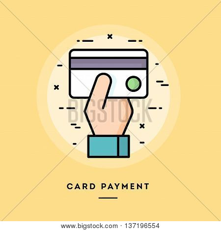 Card payment flat design thin line banner usage for e-mail newsletters web banners headers blog posts print and more