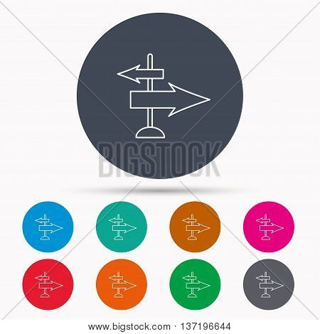 Direction arrows icon. Destination way sign. Travel guide symbol. Icons in colour circle buttons. Vector