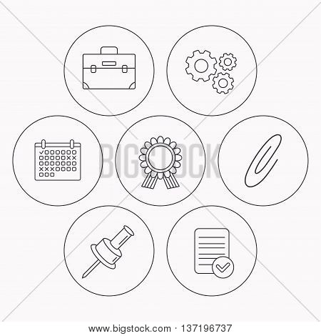 Award medal, pushpin and briefcase icons. Safety pin linear sign. Check file, calendar and cogwheel icons. Vector