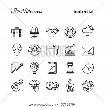 Business entrepreneurship teamwork goals and more thin line icons set vector illustration
