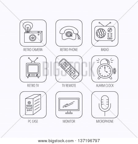 Retro camera, radio and phone call icons. Monitor, PC case and microphone linear signs. TV remote, alarm clock icons. Flat linear icons in squares on white background. Vector