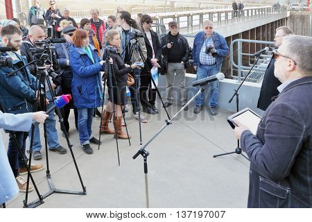 MOSCOW - MAR 19, 2015: Kuryanovskaya aeration station, tour, reporters, journalists, visitors