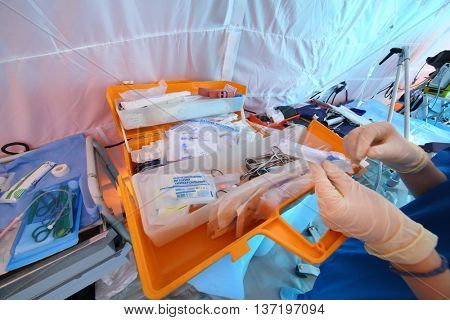 MOSCOW - APR 28, 2015: Open case with a medical kit medicinal products and tools
