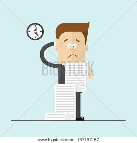 Cartoon manager or businessman confused. Modern flat vector illustration
