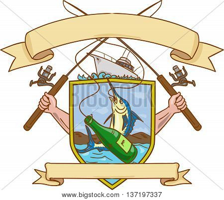 Drawing sketch style illustration of hand holding fishing rod and reel hooking a beer bottle and blue marlin fish with mountain land in the background set inside crest shield shape coat of arms with ribbon done in retro style.