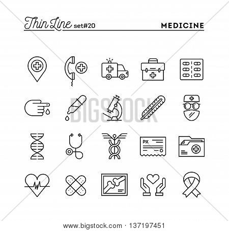 Medicine health care emergency pharmacology and more thin line icons set vector illustration