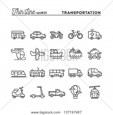 Transportation and vehicles thin line icons set vector illustration