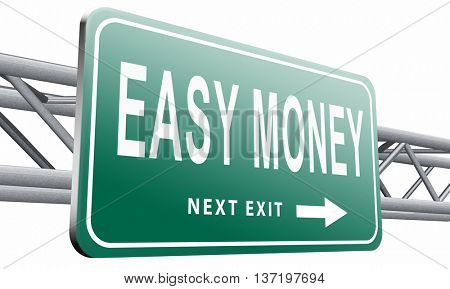 Fast easy money quick extra cash make a fortune online income ,3D illustration isolated on white.
